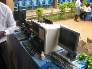 Computers, monitors, printers, reading and maths books were donated to the PIASE and Asueti basic schools in Ghana by GBAF in Feb 2012