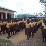 School children meet to hear speeches at Give Back donation